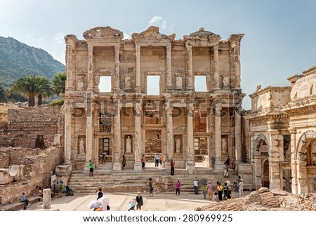 TURKEY - OCTOBER 19 2012 : Celsus library in Ephesus Selchuk - stock photo