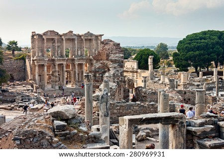 TURKEY - OCTOBER 19 2012 : Celsus library in Ephesus Selchuk. Ancient Ephesus contains the largest collection of Roman ruins in the eastern Mediterranean. - stock photo
