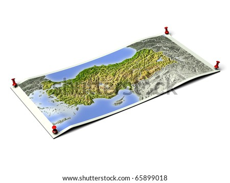 Turkey on unfolded map sheet with thumbtacks. Map colored according to vegetation, with borders. Includes clip path for the background.