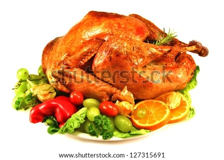 turkey on white background with salad and vegetables