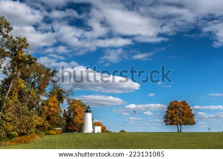 Turkey Point Lighthouse on the Chesapeake Bay - stock photo