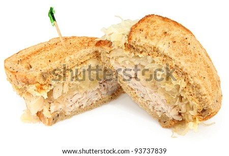 Turkey Reuben Sandwich Isolated On White - stock photo