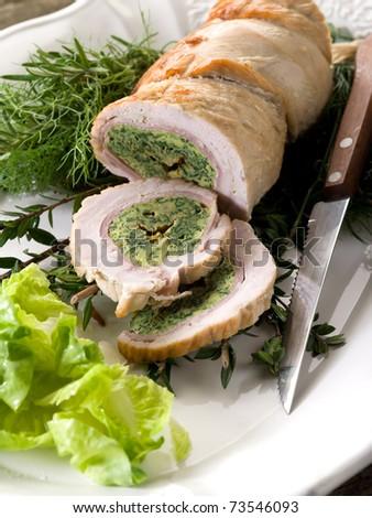 turkey roll filled - stock photo
