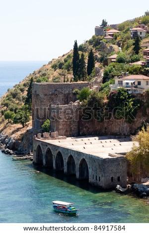 Turkey. Ruins of Ottoman fortress in Alanya - stock photo