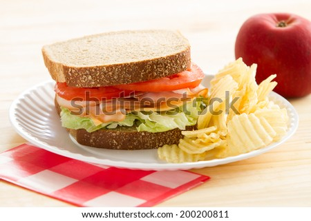 Turkey Sandwich - This is a shot of a delicious turkey sandwich, chips and an apple sitting on a wooden table. Shot with a shallow depth of field.