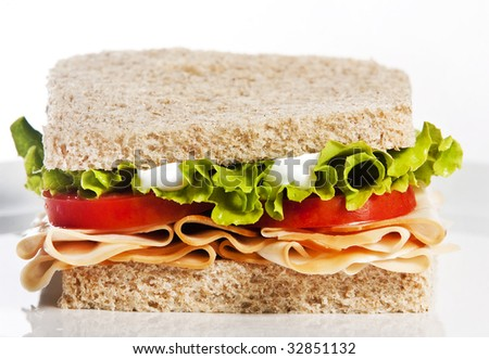 Turkey sandwich with lettuce and tomato