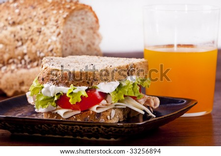 Turkey sandwich with lettuce and tomato - stock photo