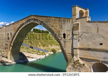 Turkey. The Malabadi Bridge on the Batman River (built 1146-1147 by Timurtas of Mardin) - stock photo