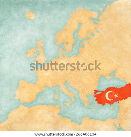 turkey turkish flag on the map of europe the map is in vintage