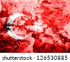 Turkey. Turkish flag  painted dirty and grungy paper - stock photo