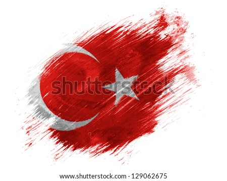 Turkey. Turkish flag  painted with brush on white background - stock photo