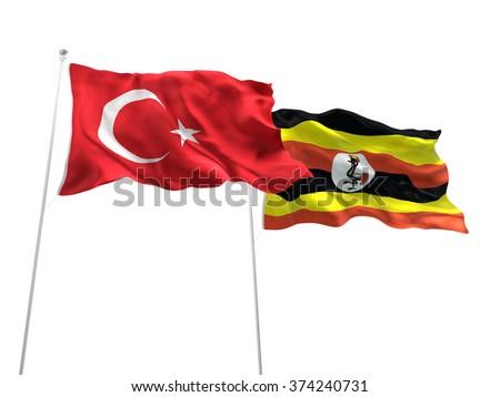 Turkey & Uganda Flags are waving on the isolated white background - stock photo