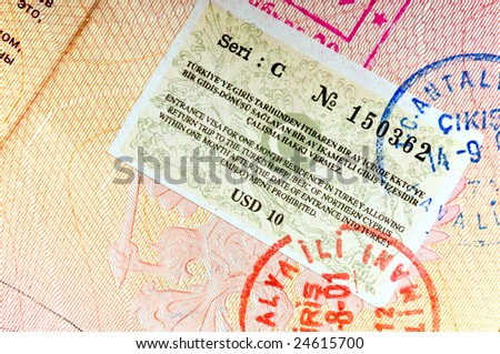 Turkey visa in international passport