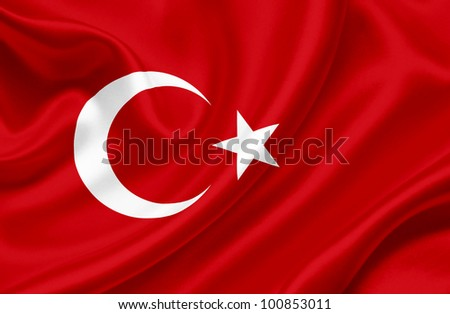 Turkey waving flag - stock photo