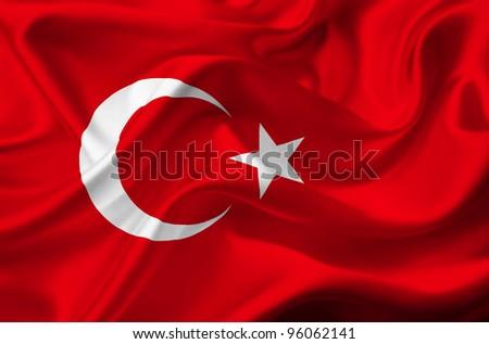 Turkey waving flag - stock photo