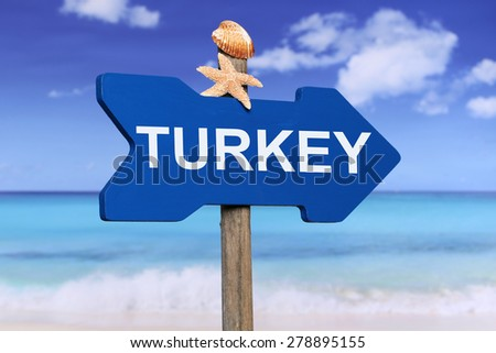 Turkey with beach and sea in summer on vacation - stock photo