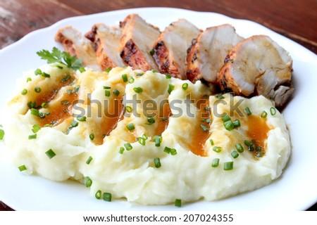 Turkey with mashed potatoes - stock photo