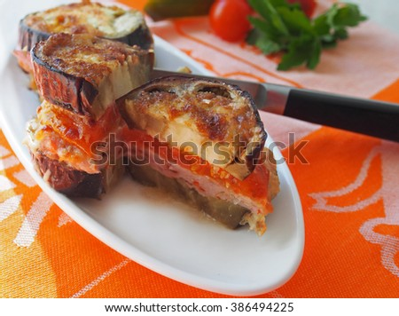 Turkich style baked aubergine, eggplant, with ground meat and tomatoes - stock photo