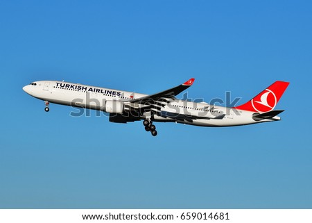 Turkish Airlines Airbus A330-300 - TC-LND descending, Ukraine, Boryspil International Airport, May, 20, 2017