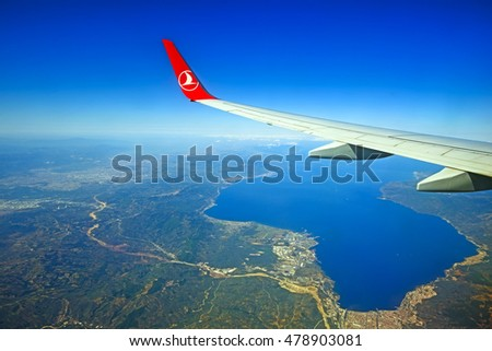 Turkish Airlines - August 27: The perfect travel by plane. Antalya. Turkish Airlines, August 27, 2015