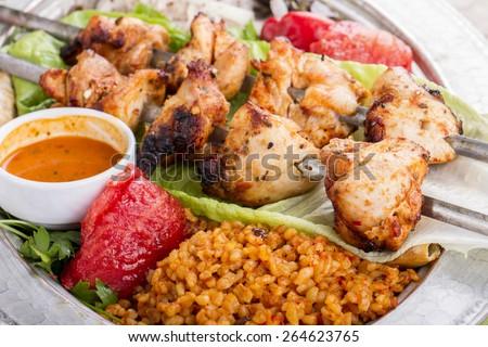 Turkish and Arabic Traditional Skewer Chicken Kebab - stock photo