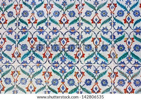 Turkish artistic wall tile - stock photo