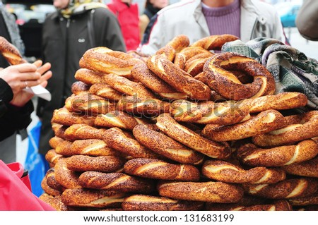 turkish bagel stand at street in Istanbul, Turkey - stock photo