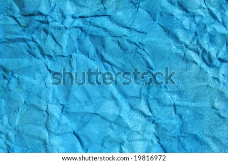 Turkish blue color wrinkled paper as background. Art is painted by photographer. - stock photo