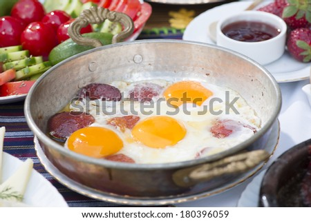 Turkish Breakfast with Sausage and Egg  - stock photo