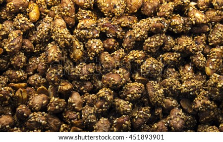 turkish candies and nuts - stock photo