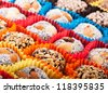 Turkish candies and sweets, tasty background - stock photo