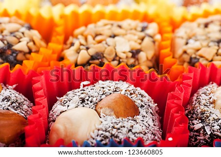 Turkish candies and sweets, tasty background