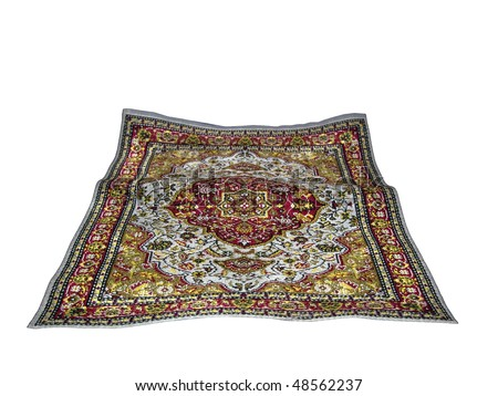turkish carpet isolated on white background - stock photo