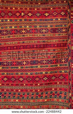 turkish carpet with pattern - stock photo