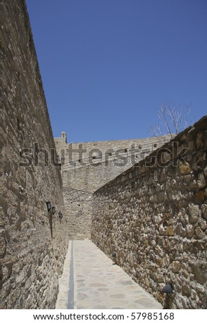 Turkish castle, Cesme Turkey, a typical Ottoman Sultan Bayezid structure and architecture.