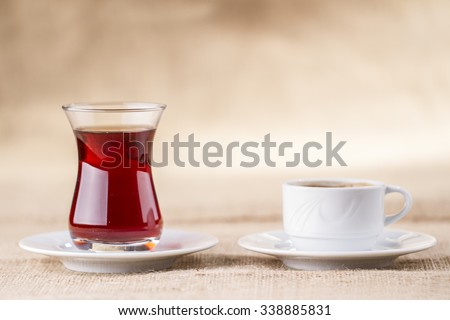 Turkish coffee and tea are together - stock photo