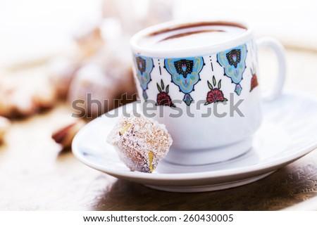 Turkish coffee and Turkish Delight - stock photo