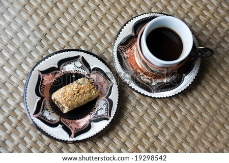 turkish coffee in cup and the east sweetness