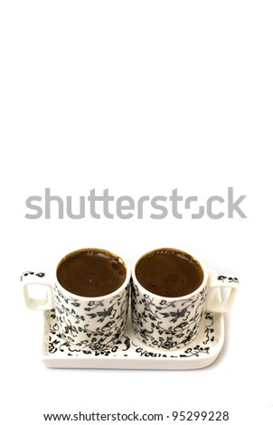 Turkish coffee in two cups