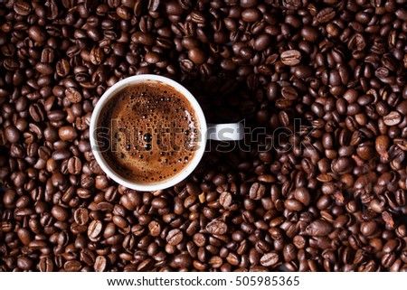 Turkish Coffee on coffee beans background