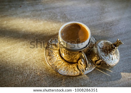 stock-photo-turkish-coffee-on-silver-cup