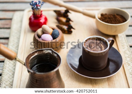 turkish coffee serve with candy - stock photo