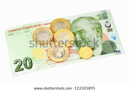 Turkish coins on 20 Lira banknote as background. Isolated on white - stock photo