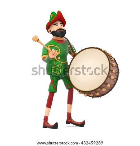 Turkish Culture hacivat playing drum-ramadan drummer 3d illustration