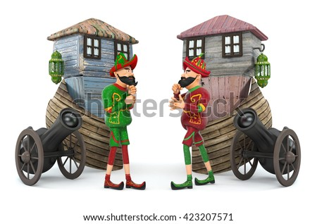 Turkish Culture, karagoz and hacivat-3d rendering - stock photo