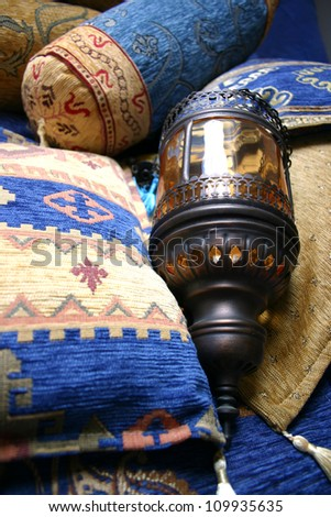Turkish cushions - stock photo