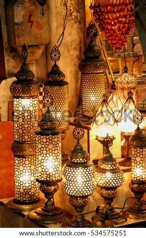 Turkish Decorative Lamps For Sale On Grand Bazaar At Istanbul Turkey