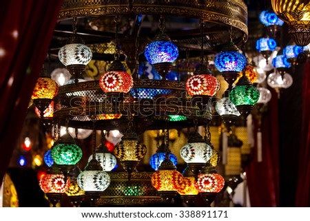 Turkish decorative lamps lamps for sale on Grand Bazaar at Istanbul, Turkey