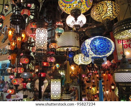 Turkish decorative object in the Grand Bazaar, Istanbul. - stock photo