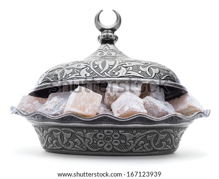 Turkish delight on authentic plate isolated on white background     - stock photo